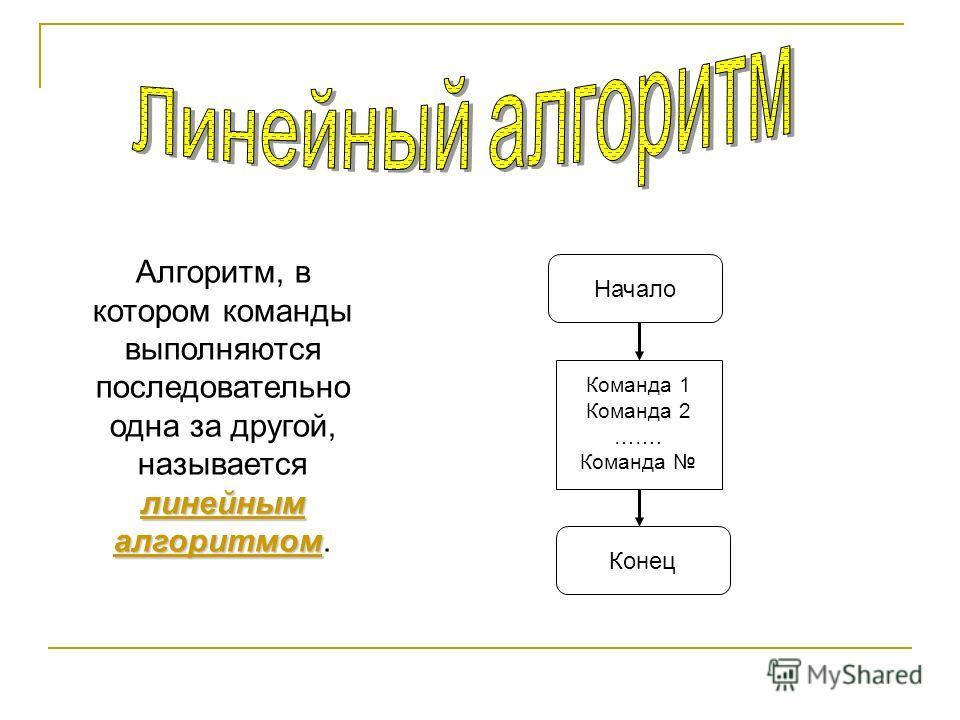 линейным алгоритмом Алгоритм, в котором команды выполняются последовательно одна за другой, называется линейным алгоритмом. Команда 1 Команда 2 ……. Команда Конец Начало