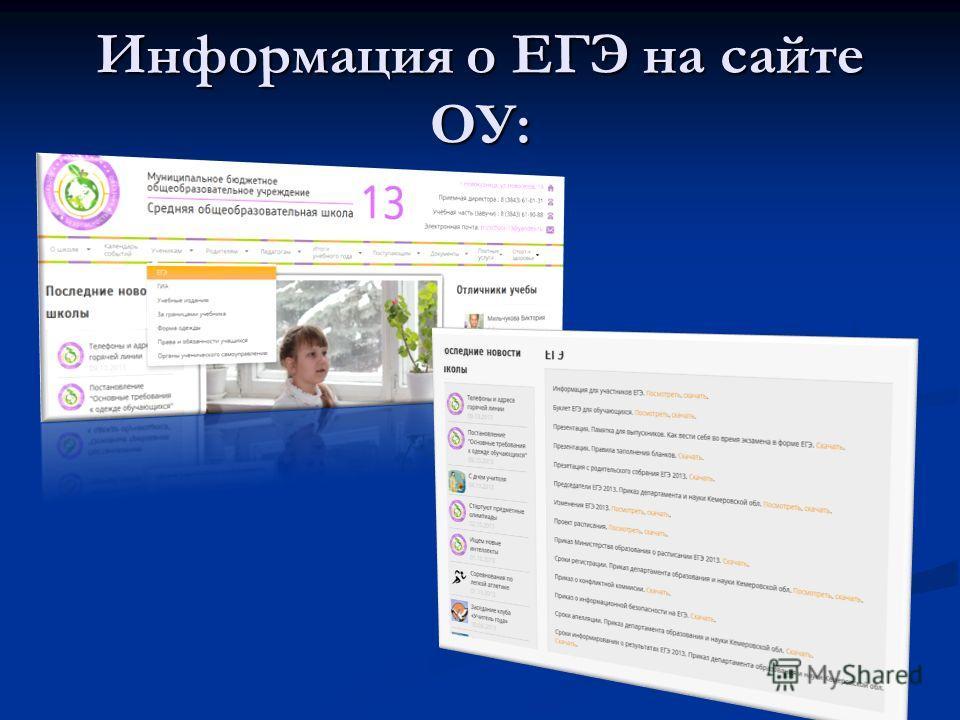 Информация о ЕГЭ на сайте ОУ: