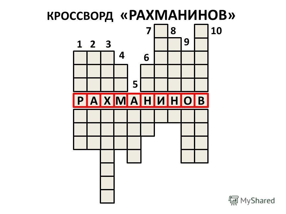 КРОССВОРД «РАХМАНИНОВ» НОВМАНИРАХ 123 4 5 6 78 9 10