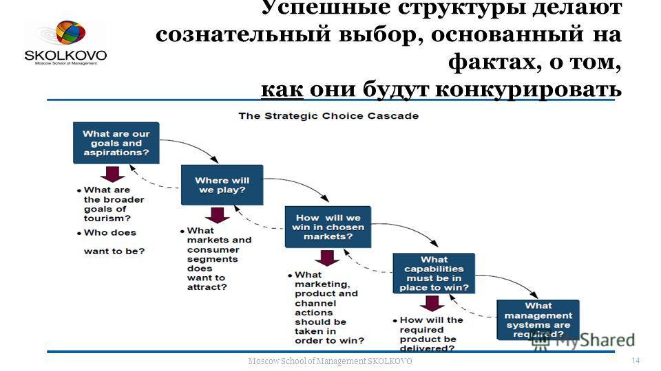 Moscow School of Management SKOLKOVO 14 Успешные структуры делают сознательный выбор, основанный на фактах, о том, как они будут конкурировать