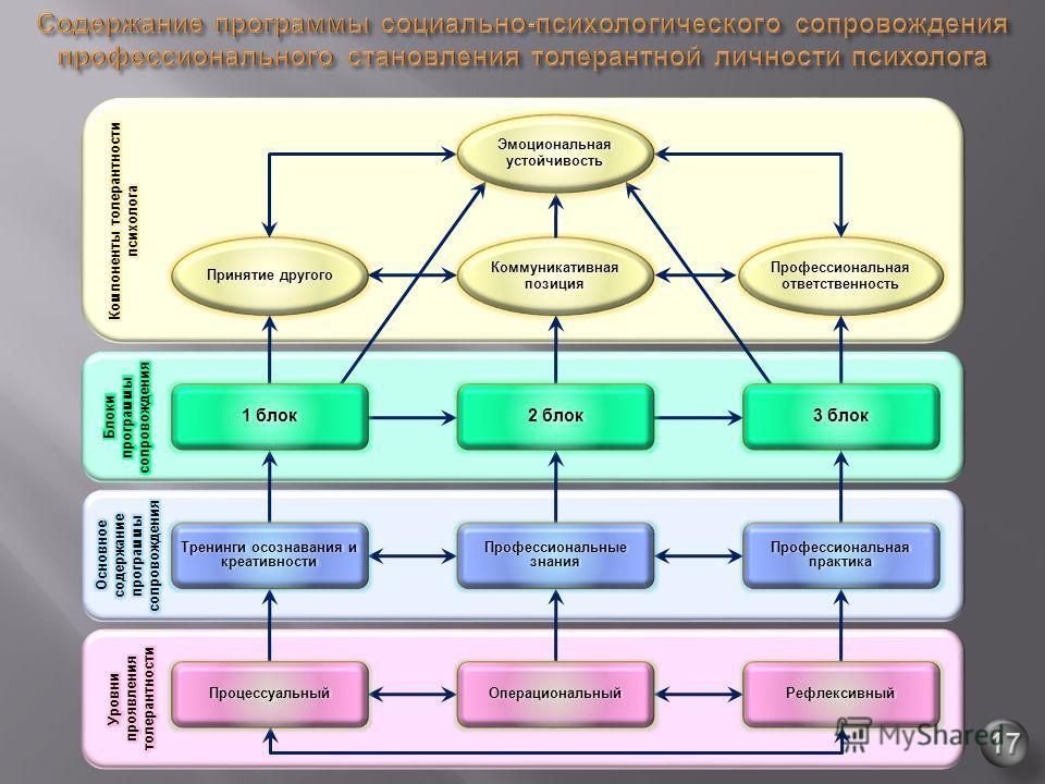 Профессиональная ответственность Коммуникативная позиция Принятие другогоПринятие другого 2 блок Профессиональная практика Профессиональные знания Тренинги осознавания и креативности РефлексивныйОперациональныйПроцессуальный 3 блок 1 блок Эмоциональн