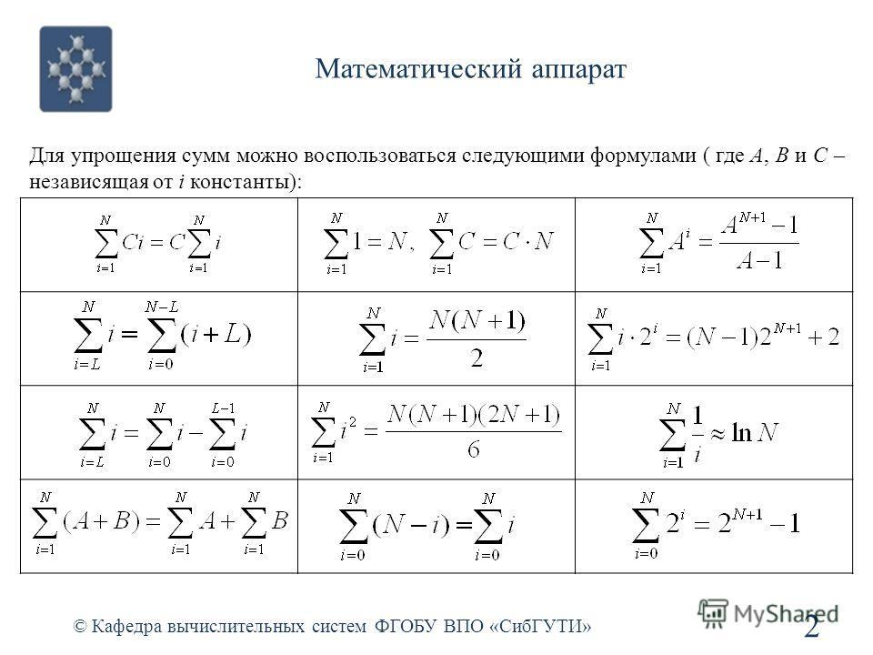 Математический аппарат © Кафедра вычислительных систем ФГОБУ ВПО «СибГУТИ» 2 Для упрощения сумм можно воспользоваться следующими формулами ( где А, B и C – независящая от i константы):
