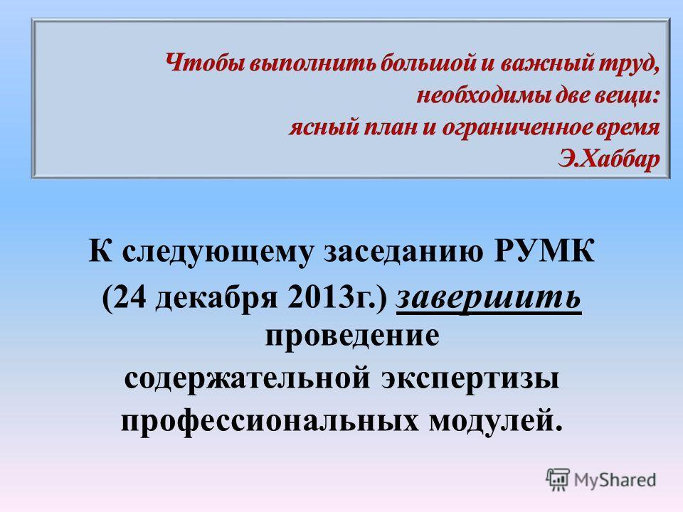 К следующему заседанию РУМК (24 декабря 2013г.) завершить проведение содержательной экспертизы профессиональных модулей.
