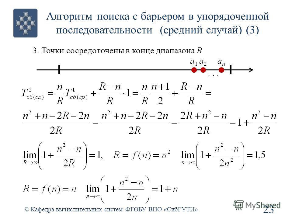 Алгоритм поиска с барьером в упорядоченной последовательности (средний случай) (3) © Кафедра вычислительных систем ФГОБУ ВПО «СибГУТИ» 23... a1a1 a2a2 anan 3. Точки сосредоточены в конце диапазона R