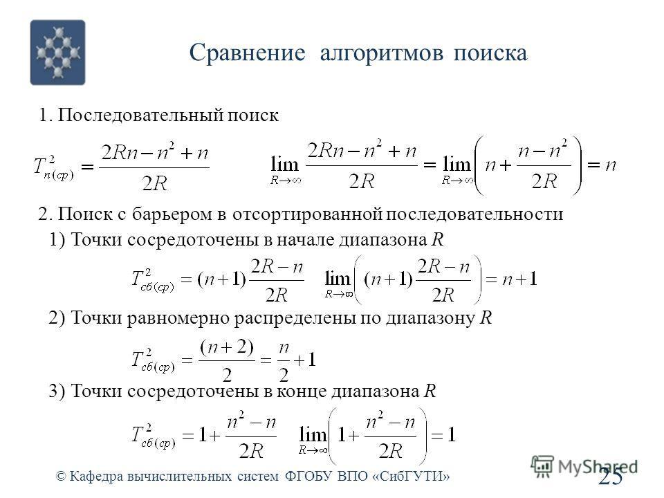 Сравнение алгоритмов поиска © Кафедра вычислительных систем ФГОБУ ВПО «СибГУТИ» 25 1. Последовательный поиск 2. Поиск с барьером в отсортированной последовательности 1) Точки сосредоточены в начале диапазона R 2) Точки равномерно распределены по диап