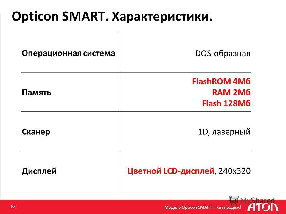 Opticon SMART. Характеристики. 33 Операционная системаDOS-образная Память FlashROM 4Мб RAM 2Мб Flash 128Мб Сканер1D, лазерный ДисплейЦветной LCD-дисплей, 240x320 Модель Opticon SMART – хит продаж!