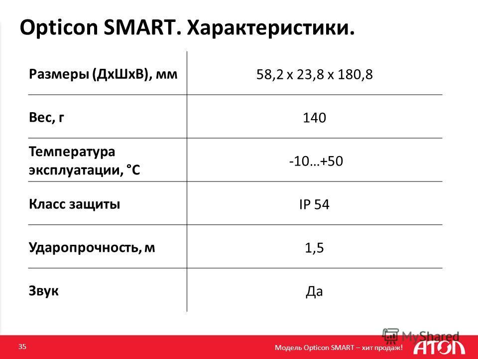Opticon SMART. Характеристики. 35 Размеры (ДхШхВ), мм58,2 x 23,8 x 180,8 Вес, г140 Температура эксплуатации, °C -10…+50 Класс защитыIP 54 Ударопрочность, м1,5 ЗвукДа Модель Opticon SMART – хит продаж!