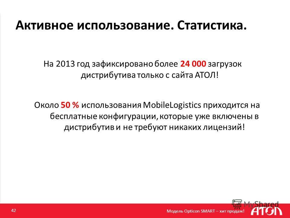 Активное использование. Статистика. 42 Модель Opticon SMART – хит продаж! На 2013 год зафиксировано более 24 000 загрузок дистрибутива только с сайта АТОЛ! Около 50 % использования MobileLogistics приходится на бесплатные конфигурации, которые уже вк