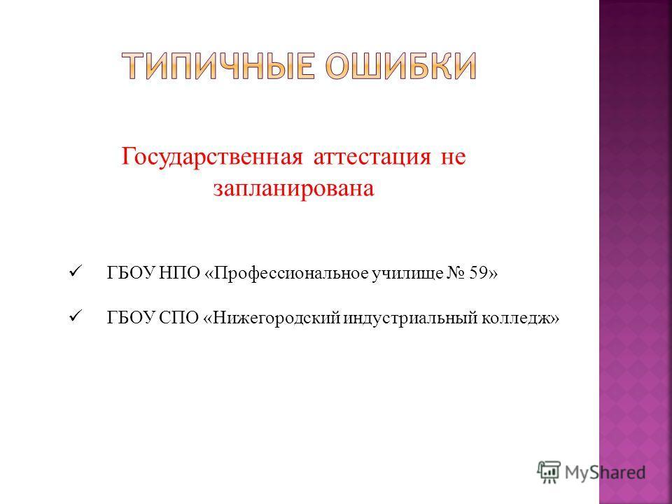Государственная аттестация не запланирована ГБОУ НПО «Профессиональное училище 59» ГБОУ СПО «Нижегородский индустриальный колледж»