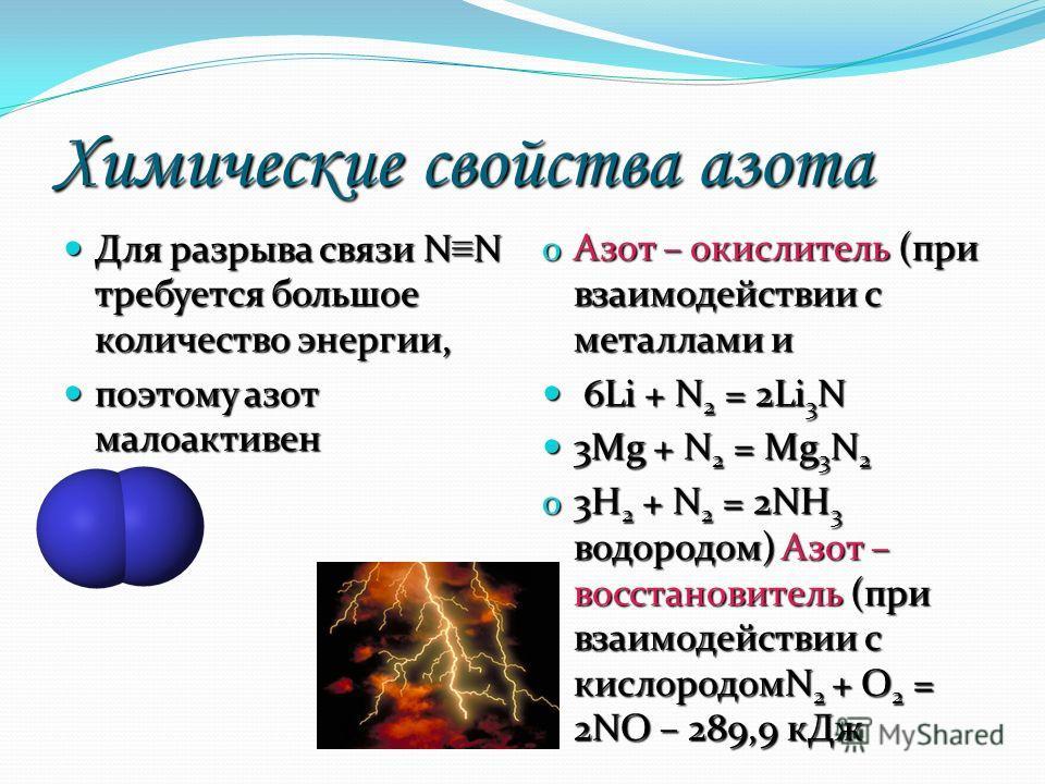 Химические свойства азота Для разрыва связи N N требуется большое количество энергии, Для разрыва связи N N требуется большое количество энергии, поэтому азот малоактивен поэтому азот малоактивен o Азот – окислитель (при взаимодействии с металлами и