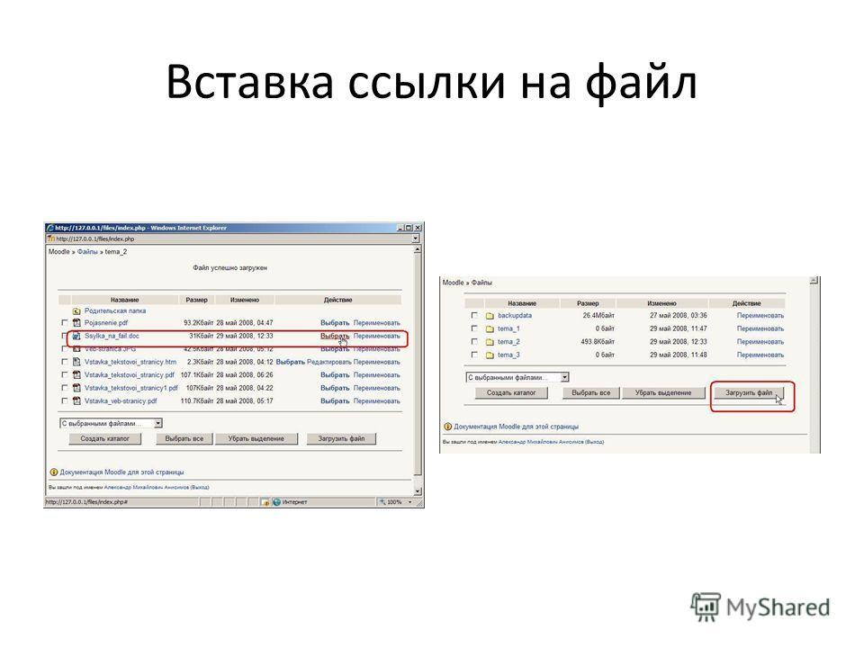 Вставка ссылки на файл