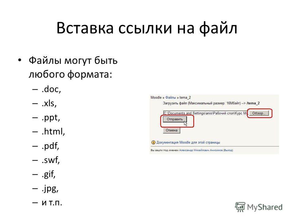 Файлы могут быть любого формата: –.doc, –.xls, –.ppt, –.html, –.pdf, –.swf, –.gif, –.jpg, – и т.п.