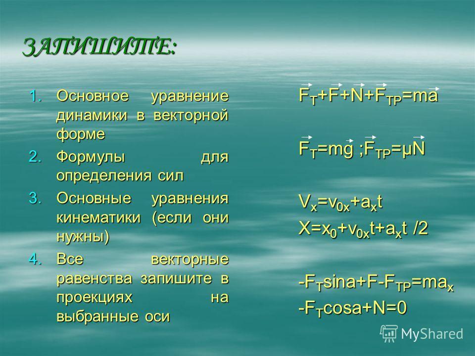ЗАПИШИТЕ: 1.Основное уравнение динамики в векторной форме 2.Формулы для определения сил 3.Основные уравнения кинематики (если они нужны) 4.Все векторные равенства запишите в проекциях на выбранные оси F T +F+N+F TP =ma F T =mg ;F TP =µN V x =v 0x +a
