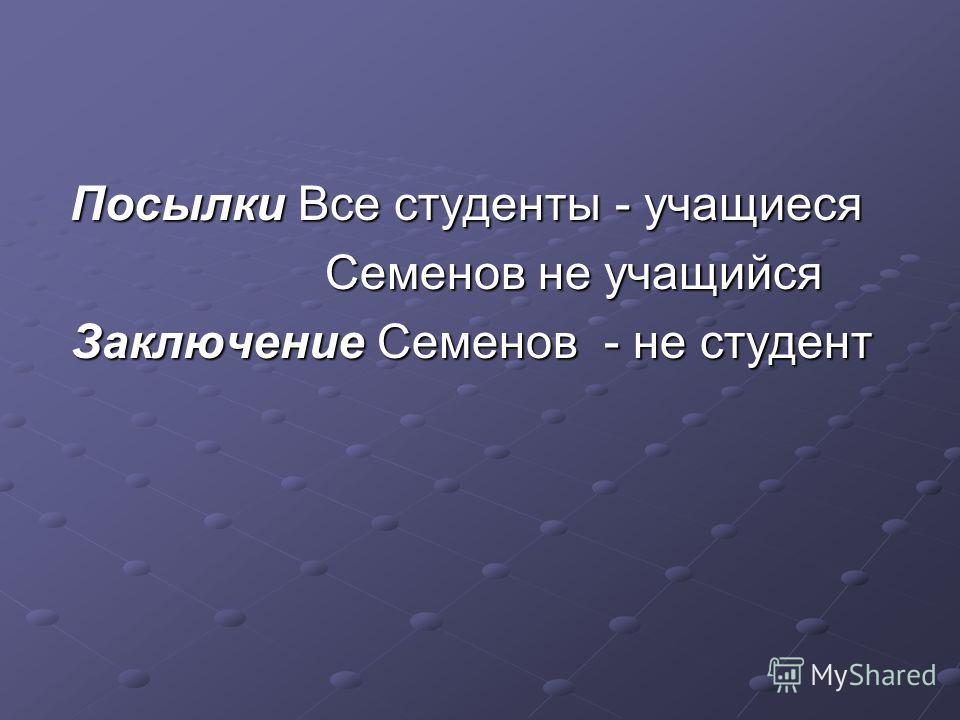 Посылки Все студенты - учащиеся Посылки Все студенты - учащиеся Семенов не учащийся Семенов не учащийся Заключение Семенов - не студент Заключение Семенов - не студент