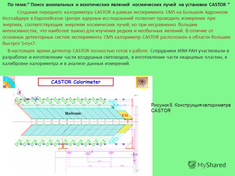 По теме: Поиск аномальных и экзотических явлений космических лучей на установке CASTOR Создание переднего калориметра CASTOR в рамках эксперимента CMS на Большом Адронном Коллайдере в Европейском Центре ядерных исследований позволит проводить измерен
