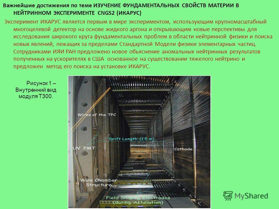 Важнейшие достижения по теме ИЗУЧЕНИЕ ФУНДАМЕНТАЛЬНЫХ СВОЙСТВ МАТЕРИИ В НЕЙТРИННОМ ЭКСПЕРИМЕНТЕ CNGS2 (ИКАРУС) Эксперимент ИКАРУС является первым в мире экспериментом, использующим крупномасштабный многоцелевой детектор на основе жидкого аргона и отк