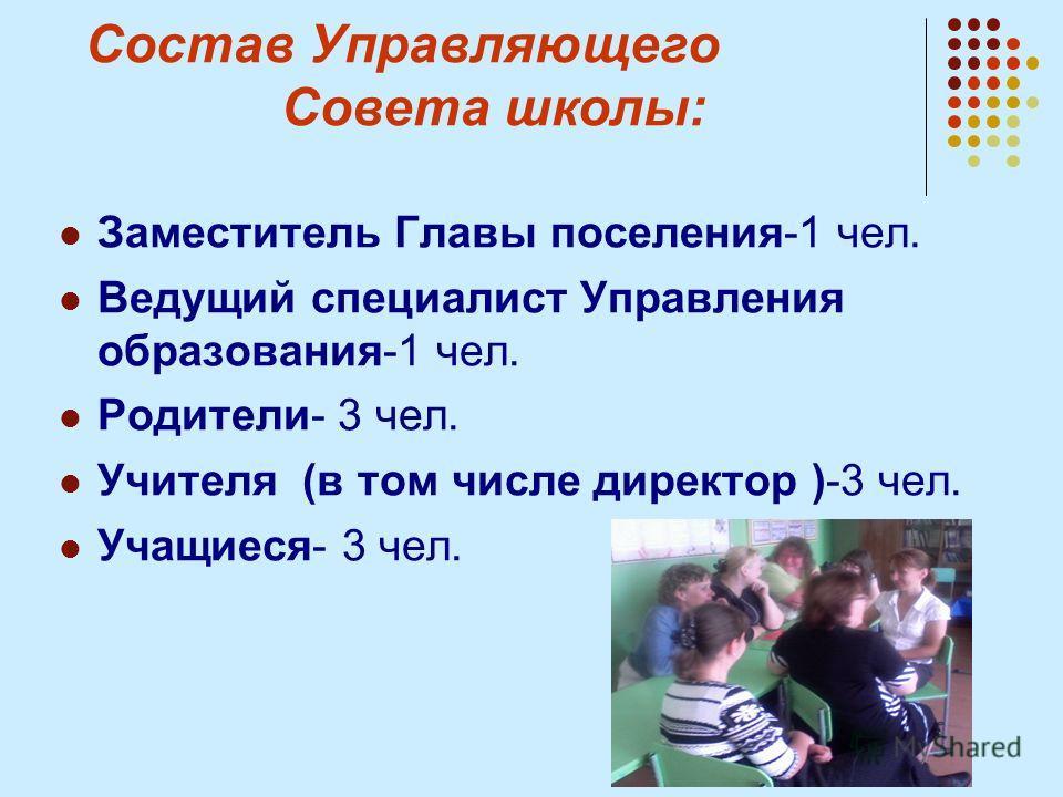 Состав Управляющего Совета школы: Заместитель Главы поселения-1 чел. Ведущий специалист Управления образования-1 чел. Родители- 3 чел. Учителя (в том числе директор )-3 чел. Учащиеся- 3 чел.