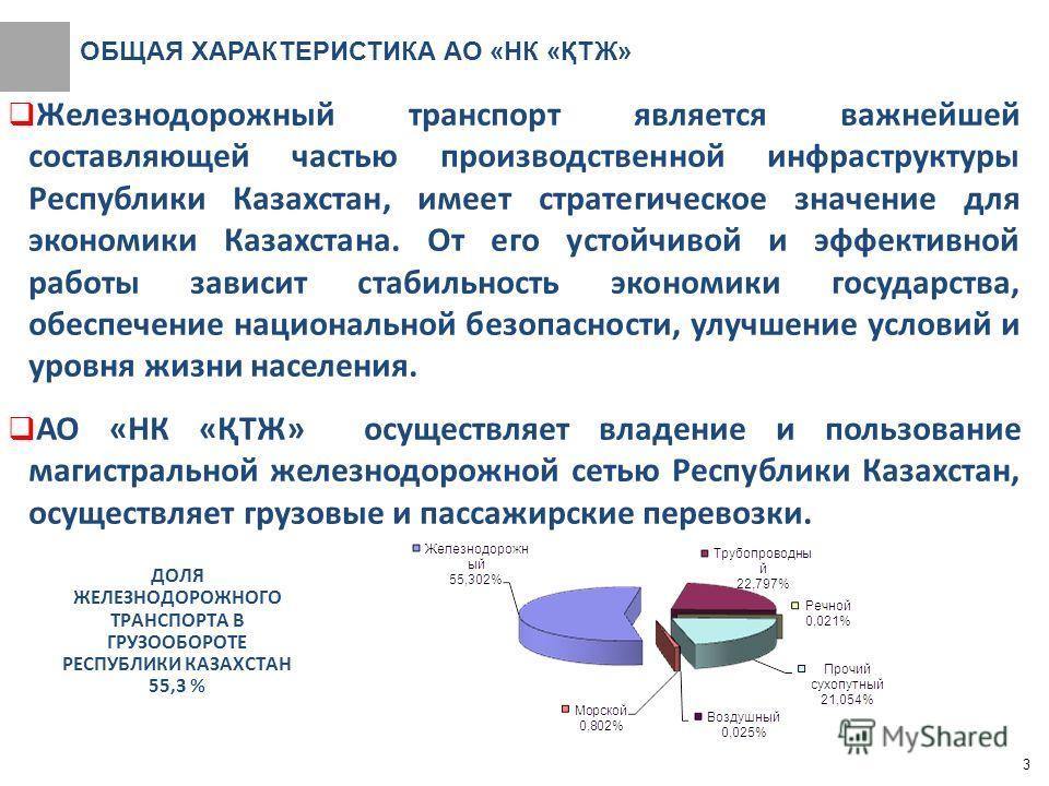 ОБЩАЯ ХАРАКТЕРИСТИКА АО «НК «ҚТЖ» Железнодорожный транспорт является важнейшей составляющей частью производственной инфраструктуры Республики Казахстан, имеет стратегическое значение для экономики Казахстана. От его устойчивой и эффективной работы за
