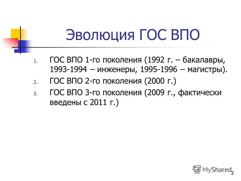 Эволюция ГОС ВПО 1. ГОС ВПО 1-го поколения (1992 г. – бакалавры, 1993-1994 – инженеры, 1995-1996 – магистры). 2. ГОС ВПО 2-го поколения (2000 г.) 3. ГОС ВПО 3-го поколения (2009 г., фактически введены c 2011 г.) 3