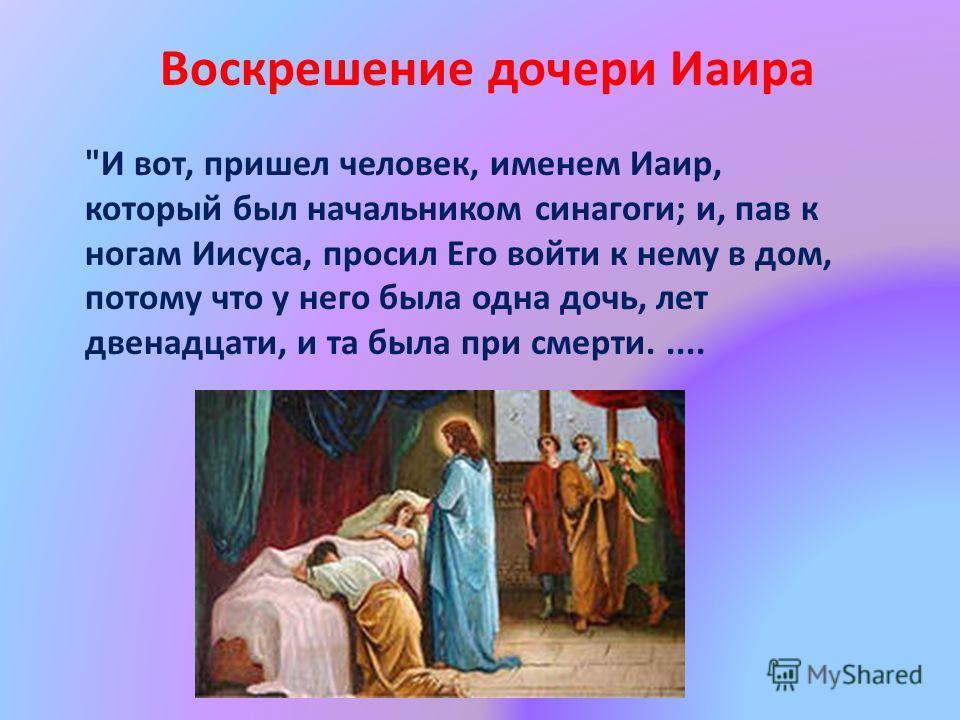 И вот, пришел человек, именем Иаир, который был начальником синагоги; и, пав к ногам Иисуса, просил Его войти к нему в дом, потому что у него была одна дочь, лет двенадцати, и та была при смерти..... Воскрешение дочери Иаира
