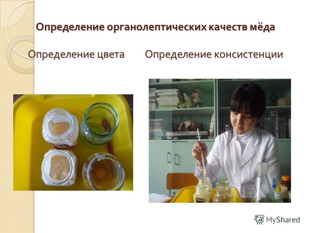 Определение органолептических качеств мёда Определение цвета Определение консистенции