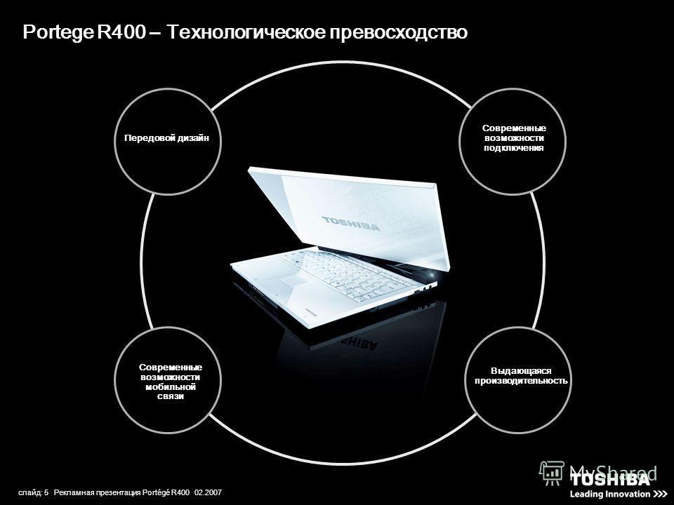 слайд: 5 Рекламная презентация Portégé R400 02.2007 Portege R400 – Технологическое превосходство Современные возможности подключения Выдающаяся производительность Передовой дизайн Современные возможности мобильной связи