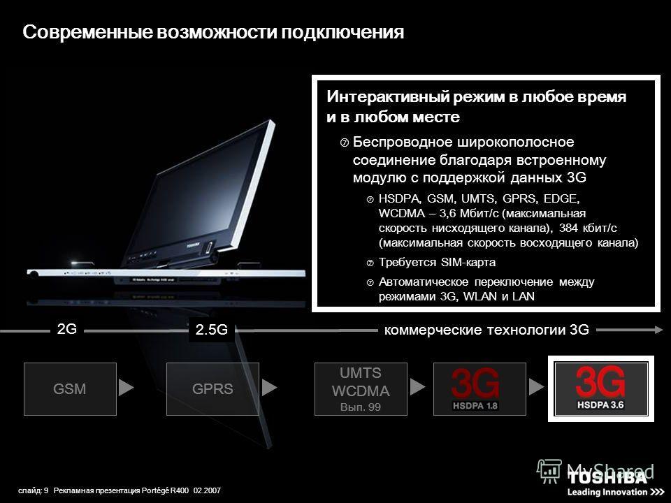 слайд: 9 Рекламная презентация Portégé R400 02.2007 GSMGPRS UMTS WCDMA Вып. 99 Современные возможности подключения Интерактивный режим в любое время и в любом месте Беспроводное широкополосное соединение благодаря встроенному модулю с поддержкой данн