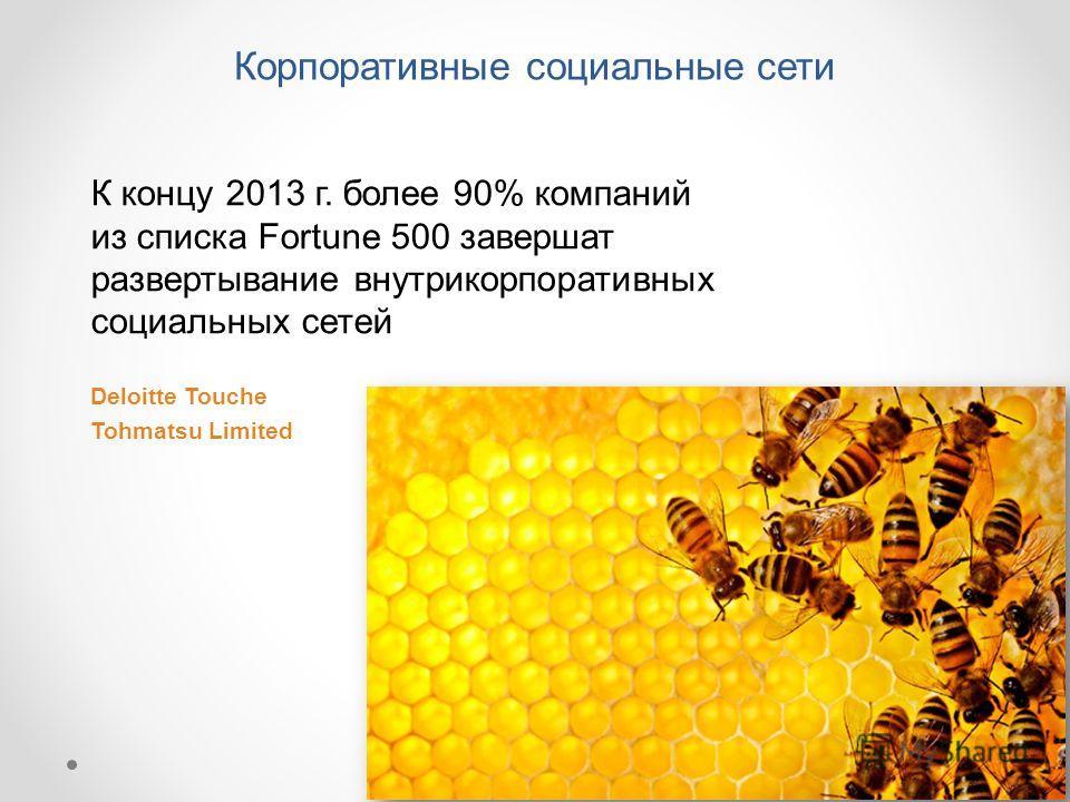 К концу 2013 г. более 90% компаний из списка Fortune 500 завершат развертывание внутрикорпоративных социальных сетей Deloitte Touche Tohmatsu Limited Корпоративные социальные сети