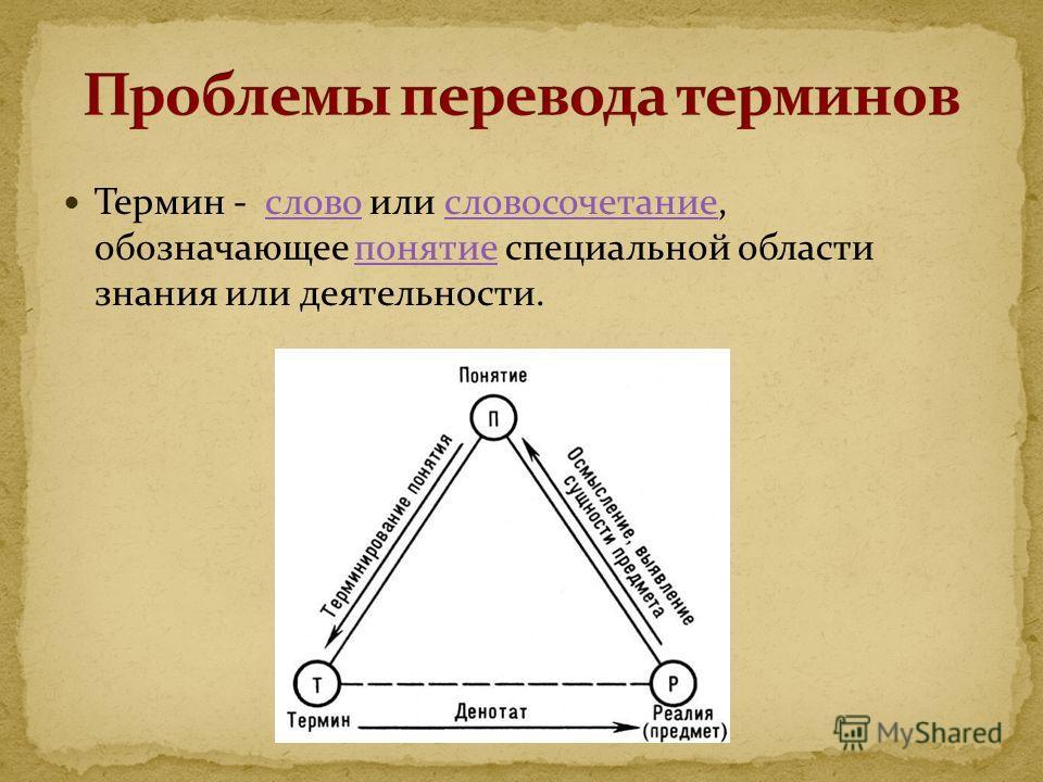 Термин - слово или словосочетание, обозначающее понятие специальной области знания или деятельности. словословосочетаниепонятие