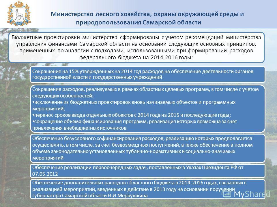 Бюджетные проектировки министерства сформированы с учетом рекомендаций министерства управления финансами Самарской области на основании следующих основных принципов, примененных по аналогии с подходами, использованными при формировании расходов федер