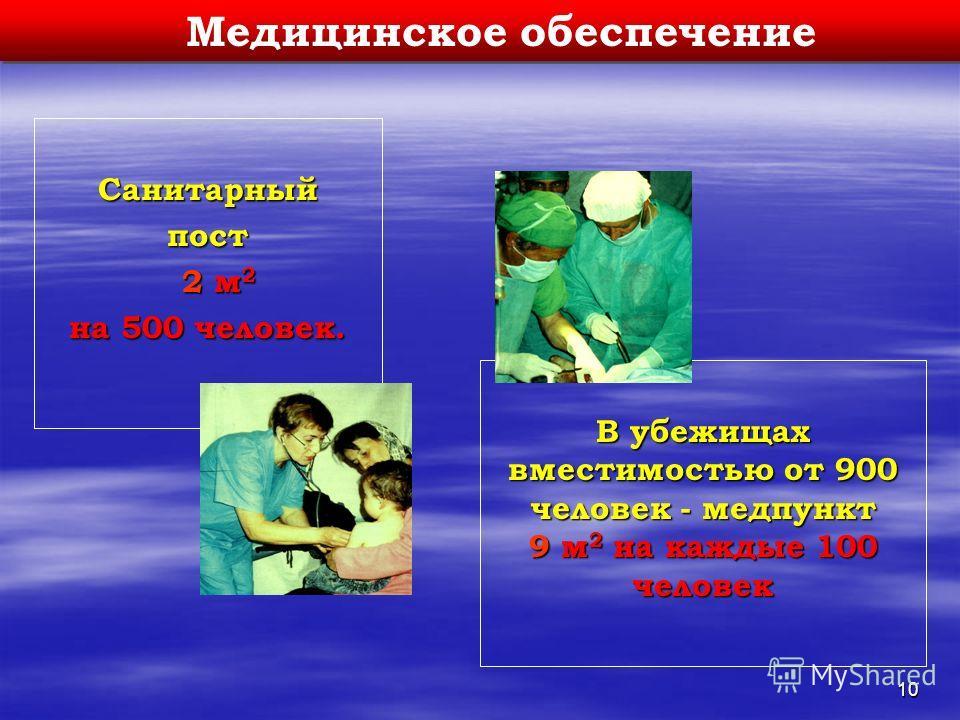 10 Медицинское обеспечение Санитарныйпост 2 м 2 2 м 2 на 500 человек. В убежищах вместимостью от 900 человек - медпункт 9 м 2 на каждые 100 человек