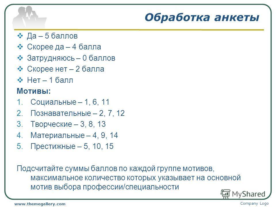 Обработка анкеты Да – 5 баллов Скорее да – 4 балла Затрудняюсь – 0 баллов Скорее нет – 2 балла Нет – 1 балл Мотивы: 1.Социальные – 1, 6, 11 2.Познавательные – 2, 7, 12 3.Творческие – 3, 8, 13 4.Материальные – 4, 9, 14 5.Престижные – 5, 10, 15 Подсчит