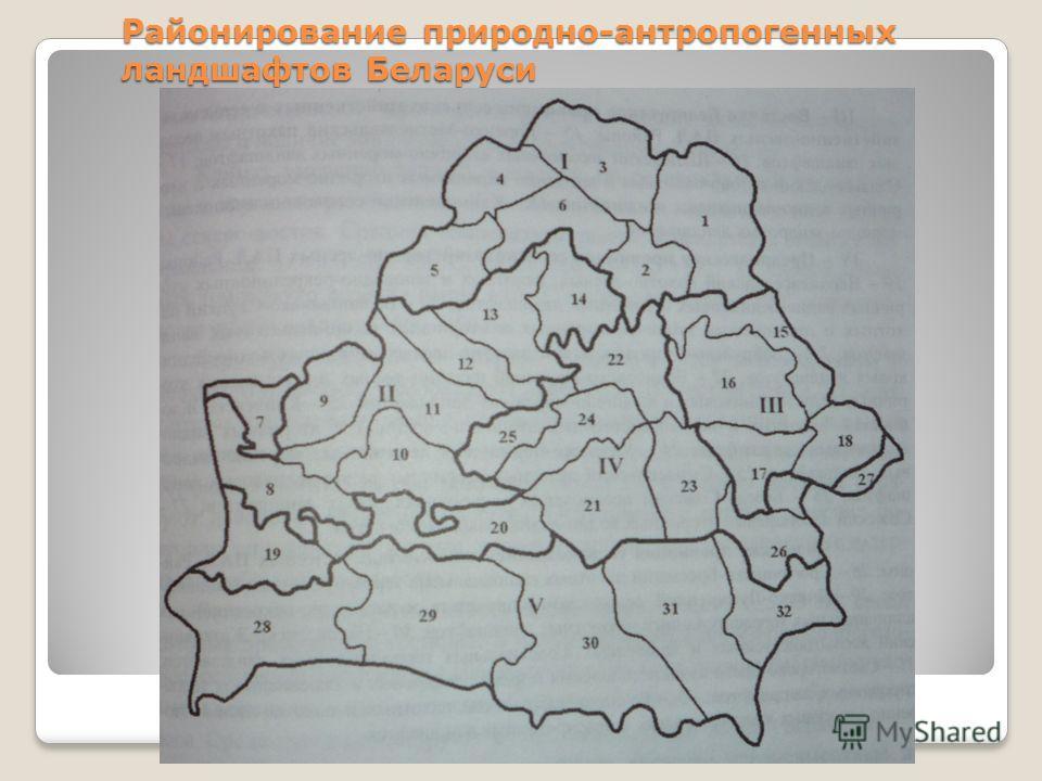 Районирование природно-антропогенных ландшафтов Беларуси