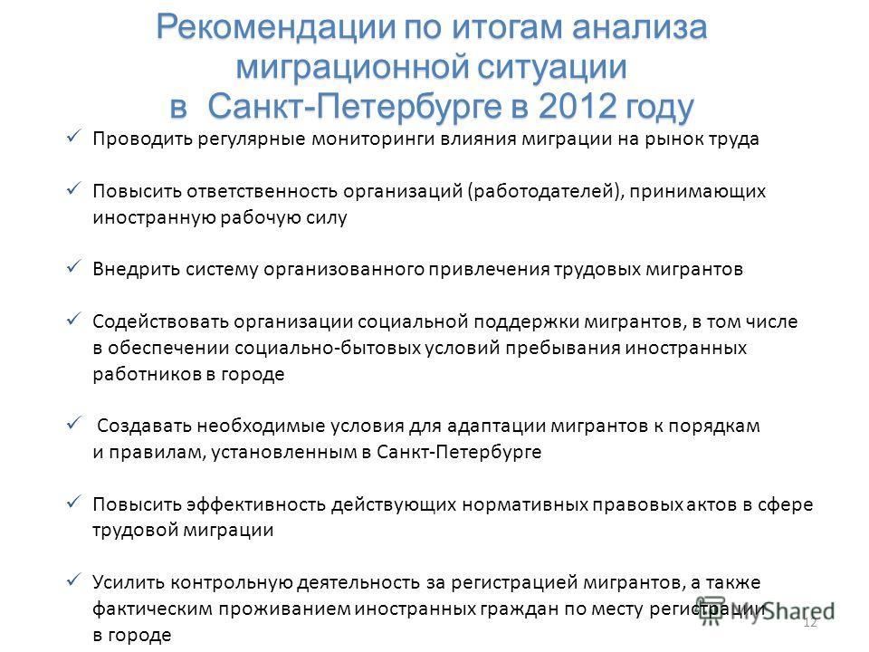 Рекомендации по итогам анализа миграционной ситуации в Санкт-Петербурге в 2012 году Рекомендации по итогам анализа миграционной ситуации в Санкт-Петербурге в 2012 году 12 Проводить регулярные мониторинги влияния миграции на рынок труда Повысить ответ