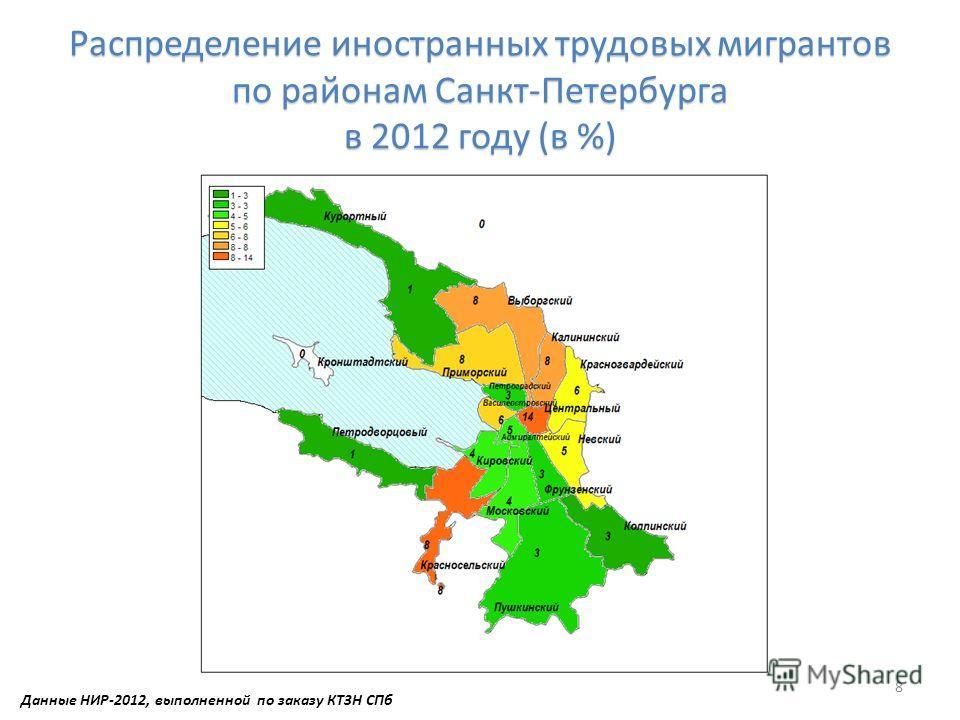 Распределение иностранных трудовых мигрантов по районам Санкт-Петербурга в 2012 году (в %) 8 Данные НИР-2012, выполненной по заказу КТЗН СПб