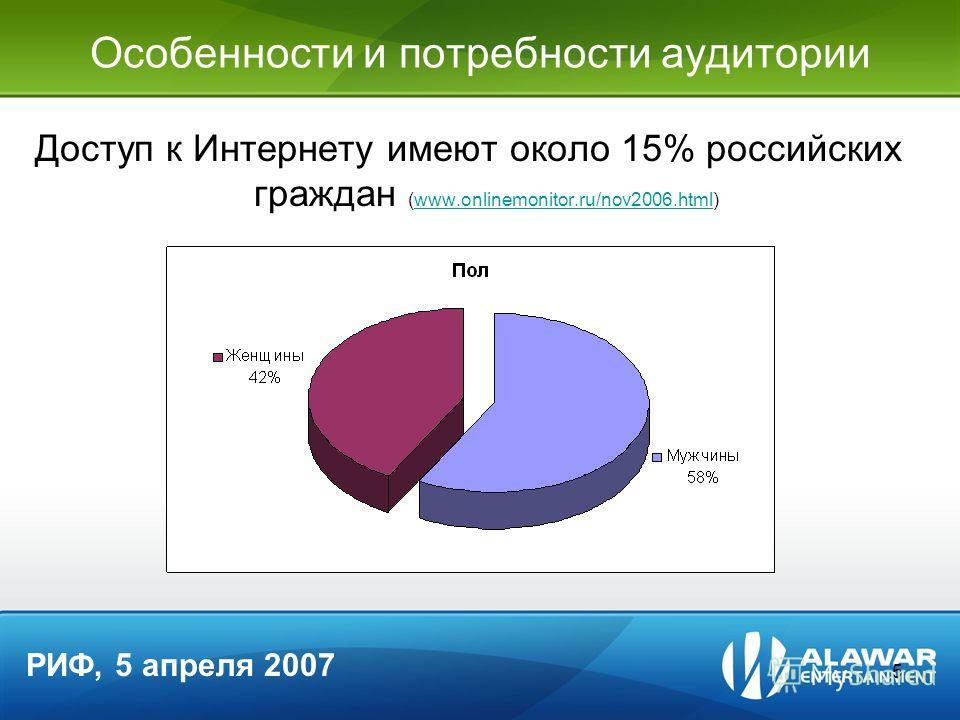 5 Особенности и потребности аудитории Доступ к Интернету имеют около 15% российских граждан (www.onlinemonitor.ru/nov2006.html)www.onlinemonitor.ru/nov2006.html РИФ, 5 апреля 2007