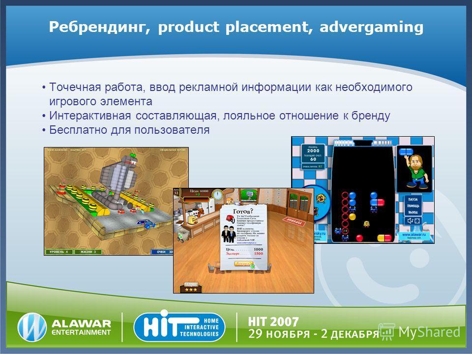 Ребрендинг, product placement, advergaming Точечная работа, ввод рекламной информации как необходимого игрового элемента Интерактивная составляющая, лояльное отношение к бренду Бесплатно для пользователя