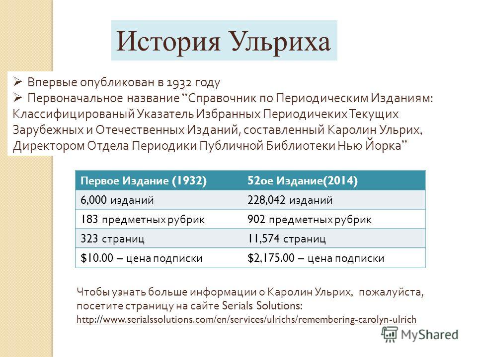 Первое Издание (1932)52o е Издание (2014) 6,000 изданий 228,042 изданий 183 предметных рубрик 902 предметных рубрик 323 страниц 11,574 страниц $10.00 – цена подписки $2,175.00 – цена подписки Впервые опубликован в 1932 году Первоначальное название Сп
