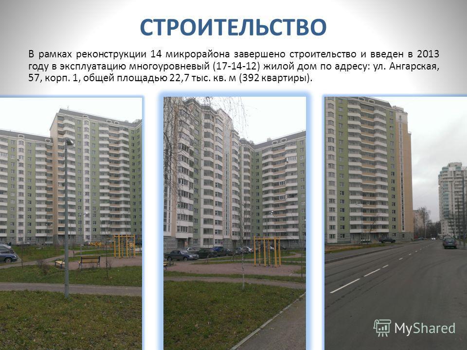 СТРОИТЕЛЬСТВО В рамках реконструкции 14 микрорайона завершено строительство и введен в 2013 году в эксплуатацию многоуровневый (17-14-12) жилой дом по адресу: ул. Ангарская, 57, корп. 1, общей площадью 22,7 тыс. кв. м (392 квартиры).