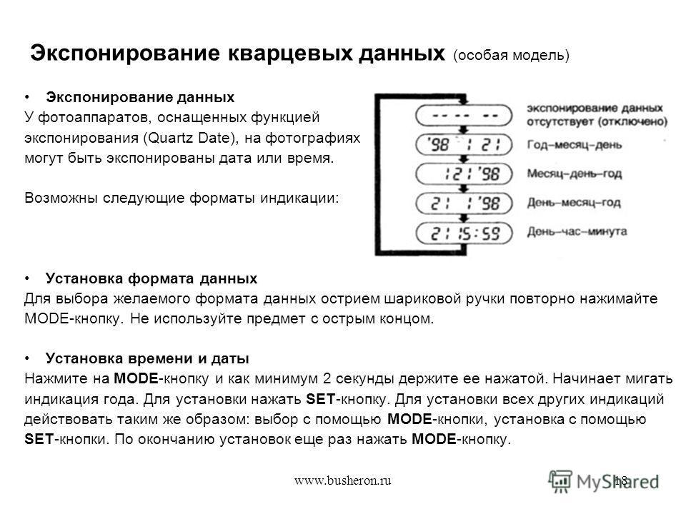 www.busheron.ru18 Экспонирование кварцевых данных (особая модель) Экспонирование данных У фотоаппаратов, оснащенных функцией экспонирования (Quartz Date), на фотографиях могут быть экспонированы дата или время. Возможны следующие форматы индикации: У