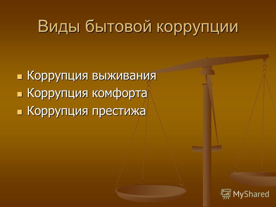 Виды бытовой коррупции Коррупция выживания Коррупция выживания Коррупция комфорта Коррупция комфорта Коррупция престижа Коррупция престижа