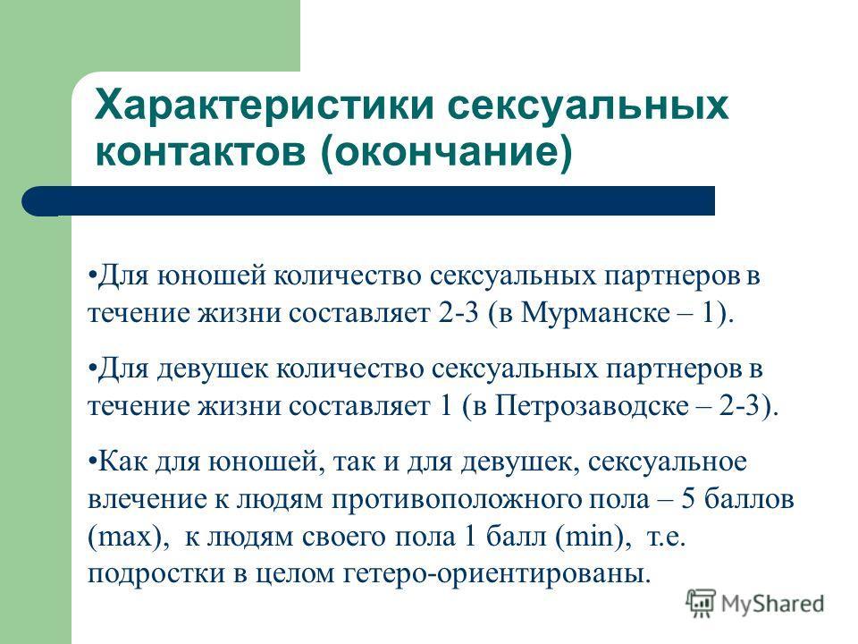 Характеристики сексуальных контактов (окончание) Для юношей количество сексуальных партнеров в течение жизни составляет 2-3 (в Мурманске – 1). Для девушек количество сексуальных партнеров в течение жизни составляет 1 (в Петрозаводске – 2-3). Как для