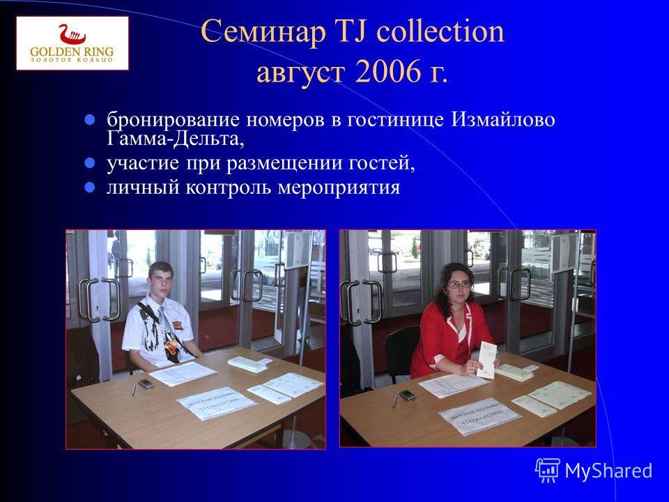 Семинар TJ collection август 2006 г. бронирование номеров в гостинице Измайлово Гамма-Дельта, участие при размещении гостей, личный контроль мероприятия