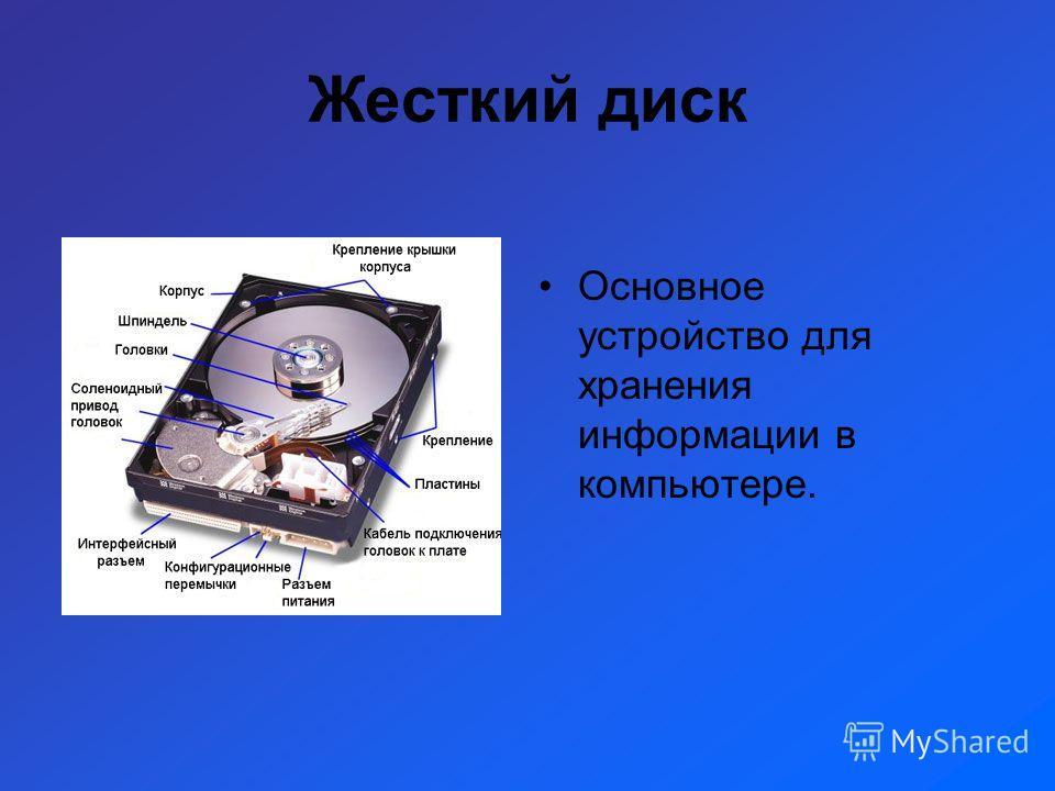 Жесткий диск Основное устройство для хранения информации в компьютере.