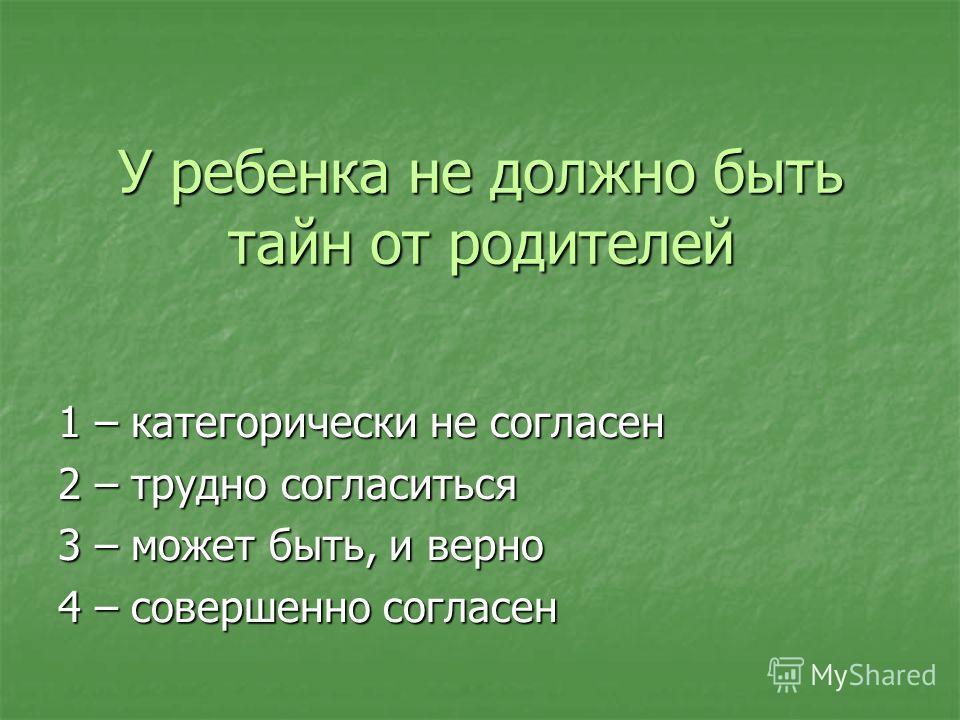 У ребенка не должно быть тайн от родителей 1 – категорически не согласен 2 – трудно согласиться 3 – может быть, и верно 4 – совершенно согласен