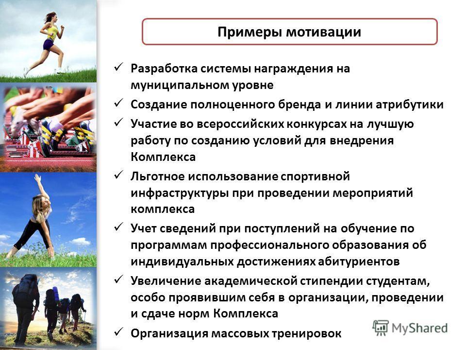 ProPowerPoint.Ru Примеры мотивации Разработка системы награждения на муниципальном уровне Создание полноценного бренда и линии атрибутики Участие во всероссийских конкурсах на лучшую работу по созданию условий для внедрения Комплекса Льготное использ
