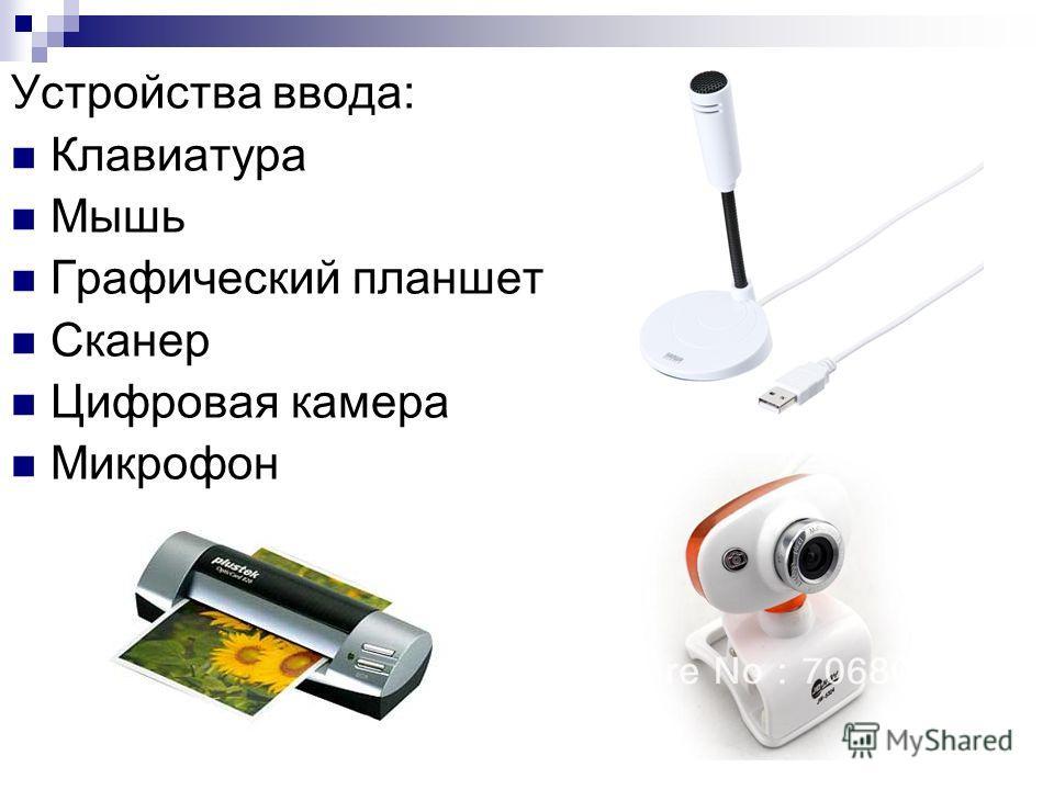 Устройства ввода: Клавиатура Мышь Графический планшет Сканер Цифровая камера Микрофон