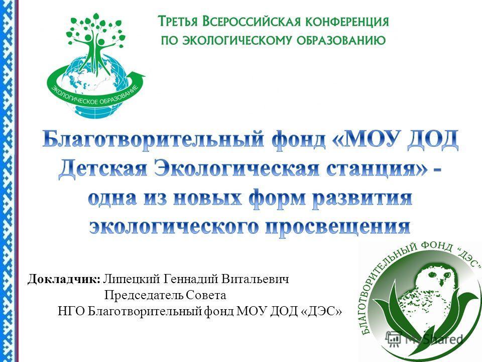 Докладчик: Липецкий Геннадий Витальевич Председатель Совета НГО Благотворительный фонд МОУ ДОД «ДЭС»