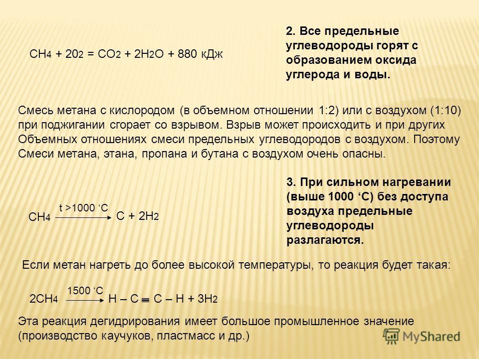 CH 4 + 20 2 = CO 2 + 2H 2 O + 880 кДж 2. Все предельные углеводороды горят с образованием оксида углерода и воды. Смесь метана с кислородом (в объемном отношении 1:2) или с воздухом (1:10) при поджигании сгорает со взрывом. Взрыв может происходить и