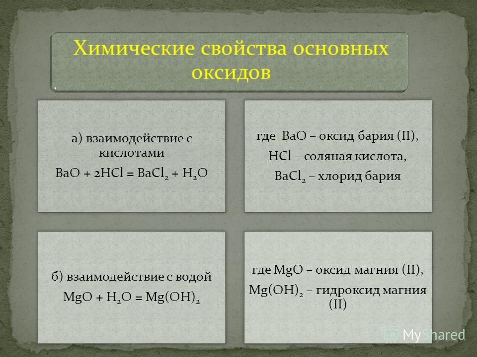 а) взаимодействие с кислотами BaO + 2HCl = BaCl2 + H2O где BaO – оксид бария (II), HCl – соляная кислота, BaCl2 – хлорид бария б) взаимодействие с водой MgO + H2O = Mg(OH)2 где MgO – оксид магния (II), Mg(OH)2 – гидроксид магния (II)